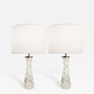 Orrefors Pair of Clear Crystal Lamps Orrefors Sweden 1950s