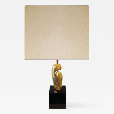 Philippe Jean Signed Abstract Cast Bronze Lamp Philippe Jean France 1970s