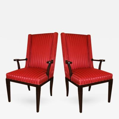 Tommi Parzinger Pair of Mahogany Host Chairs Tommi Parzinger USA 1940s