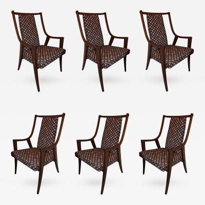 Harvey Probber Set of 6 Mahogany Dining Chairs Harvey Probber USA 1960s
