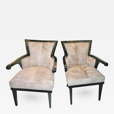 Andr Groult Pair of Black Lacquer Cowhide Club Chairs Andr Groult France 1920s