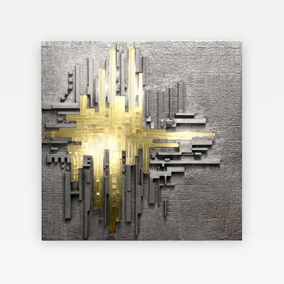 Poliarte Cast Aluminum and Glass Illuminated Wall Sculpture by Poliarte