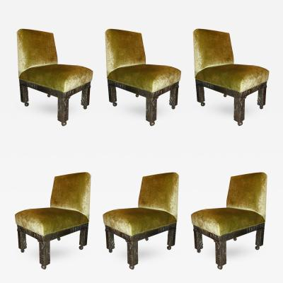 Paul Evans Set of Six Signed Paul Evans Sculpted Bronze Dining Chairs