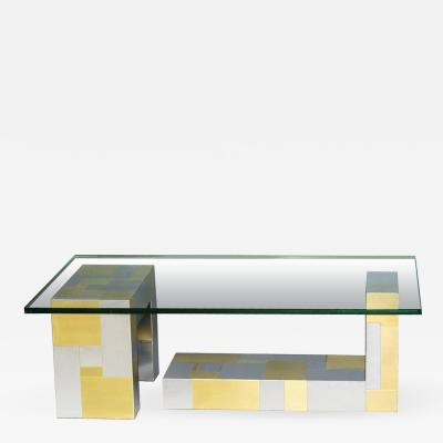 Paul Evans Signed Cityscape Chrome and Brass Coffee Table Paul Evans USA 1970s