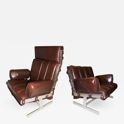 Arne Norell Pair of Steel Leather Club Chairs Arne Norell Sweden 1960s
