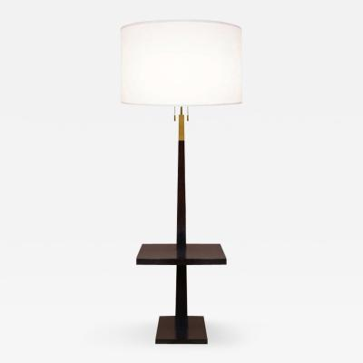 Tommi Parzinger Mahogany and Brass Floor Lamp Tommi Parzinger USA 1940s