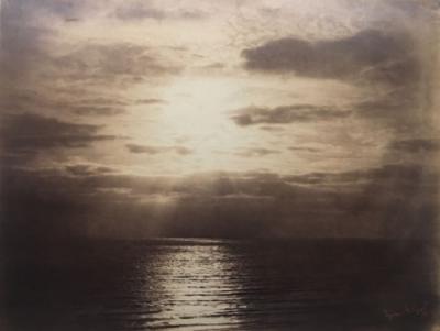 Gustave Le Gray, Effet de soleil dans les nuages – Océan, 1856 Albumen print from a collodion negative, 30.7 x 40.3 cm. Courtesy of Hans P. Kraus Jr. Inc., New York