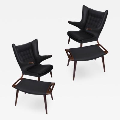 Hans Wegner Early Hans Wegner Papa Bear Chairs Ottomans in Slate Leather Pr