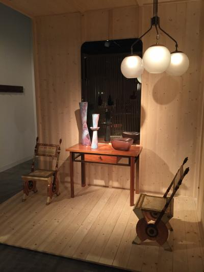 Studio BBPR table and Carlo Bugatti chairs, presented by Casati Gallery
