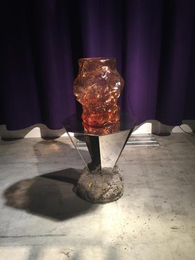 FOS Diamond Table and Glass Vase, presented by Etage Projects