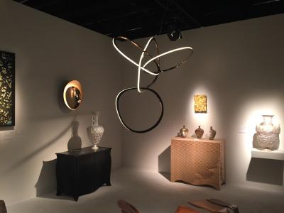 Niamh Barry light sculpture, Gareth Neal cabinets, Marc Fish and Shari Mendelson vessels, presented by Todd Merrill