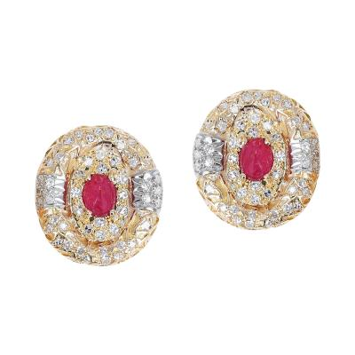 14K HAMMERED GOLD OVAL RUBY CABOCHON AND DIAMOND OVAL EARRINGS