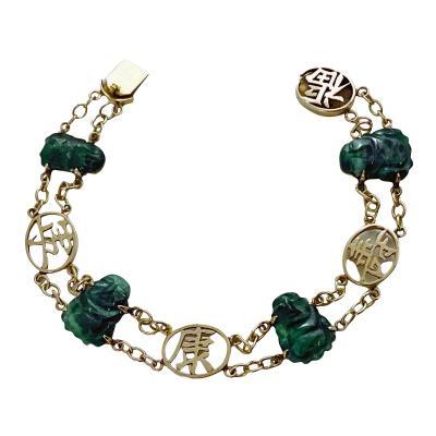 14K Jadeite Jade Buddha bracelet 14K C 1940