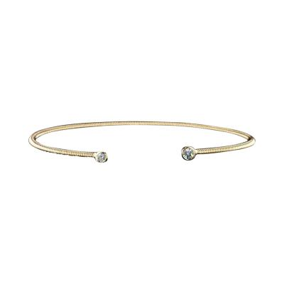 14K Yellow Gold Spring Bangle Bracelet with Diamonds