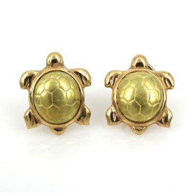14KT GOLD VINTAGE TURTLE EARRINGS