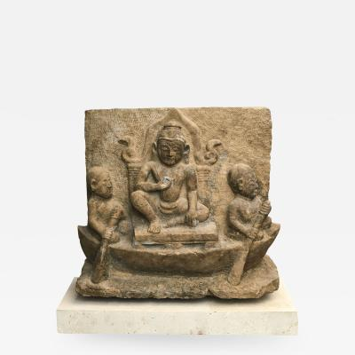 14TH 15TH CENTURY SANDSTONE TEMPLE RELIEF OF BUDDHA ON A THRONE IN A BOAT