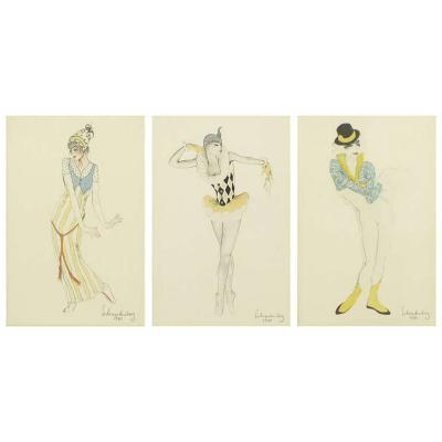 Set Three Walter Schnackenberg 1880 1961 Ballet Und Pantomime Tinted Prints