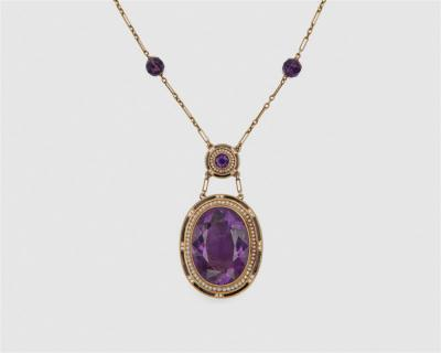 14k Gold Amethyst Enamel and Seed Pearl Pendant Necklace