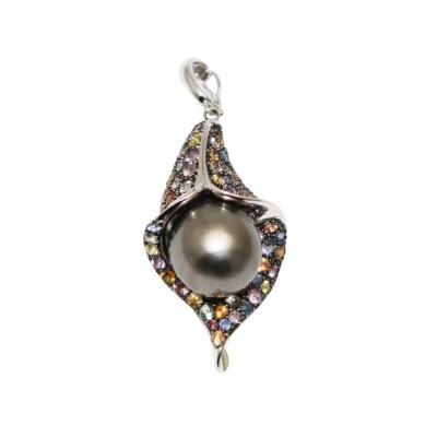 14mm Cultured Tahitian Pearls Multi Color Sapphire Pendant 14KT White Gold