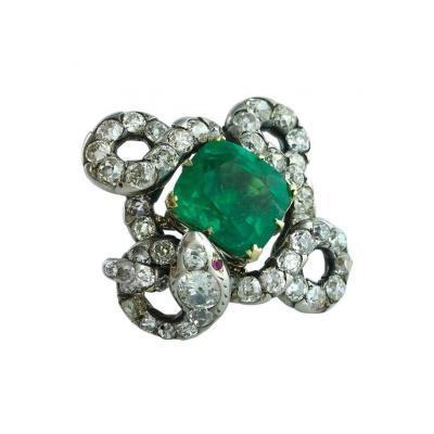 15 43 Carat Colombian Emerald on Antique Italian Snake Diamond Silver Gold Ring