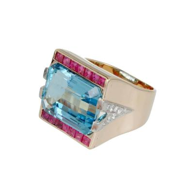15 83 Carat Natural Aquamarine Ruby Diamond Rose Gold Cocktail Ring
