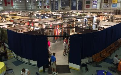 A view of the show floor from the mezzanine.