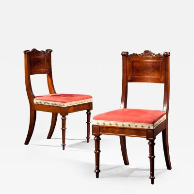 Richard Parkin Pair of Carved Walnut Dining Chairs 1833 1840