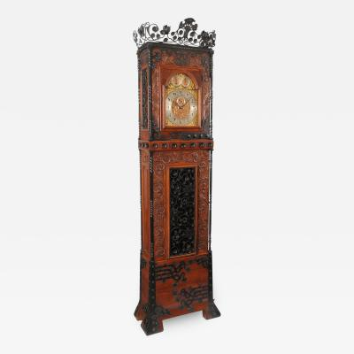 Rare and Important Oak and Wrought Iron Tall Aesthetic Movement Case Clock