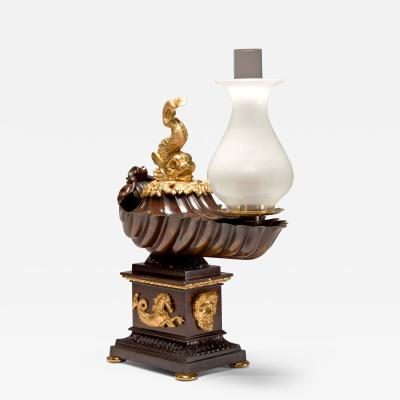Johnston Brookes and Company Bronze Argand Lamp in the Form of an Ancient Shell Shaped Oil Lamp