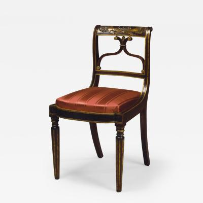 Important Set of 4 Carved and Gilt Decorated Rosewood Upholstered Side Chairs