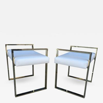 Charles Hollis Jones Vintage Pair of Solid Brass Benches by Charles Hollis Jones Box Collection