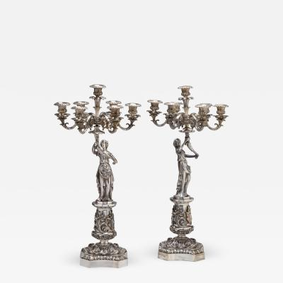 Pair of Classical Silvered Bronze Seven Light Figural Candelabra c 1840