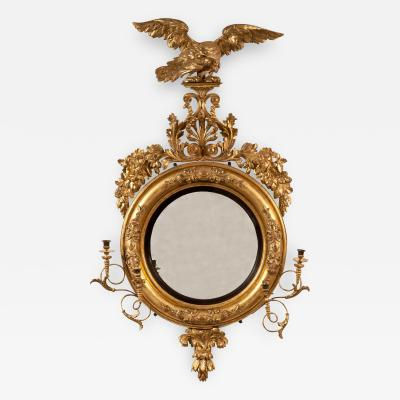 Important Giltwood Girandole Mirror Surmounted with an Eagle and Anthemeon