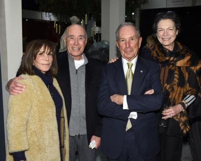 Rose Tarlow, David Geffen, MIchael Bloomberg, Diana Taylor. Photo by Annie Watt. Courtesy Sharp Communications and the Winter Antiques Show.