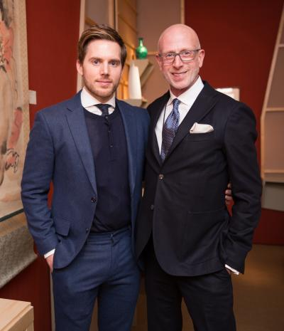 Caleb Anderson, Jamie Drake of Drake/Anderson interiors. Photo: Carl Timpone. Courtesy Sharp Communications and the Winter Antiques Show.
