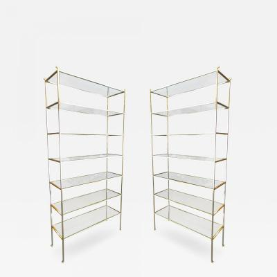 Pair of Tall Custom Brass tag res with Glass Shelves