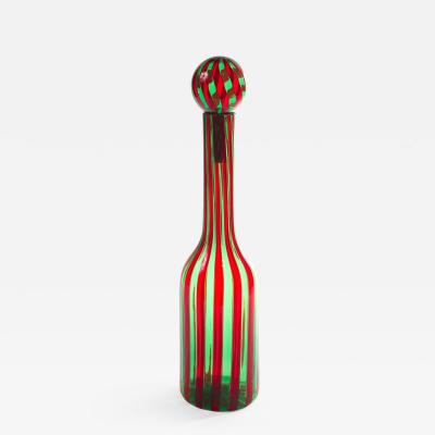 Gio Ponti Murano Blown Glass Bottle in the Manner of Gio Ponti