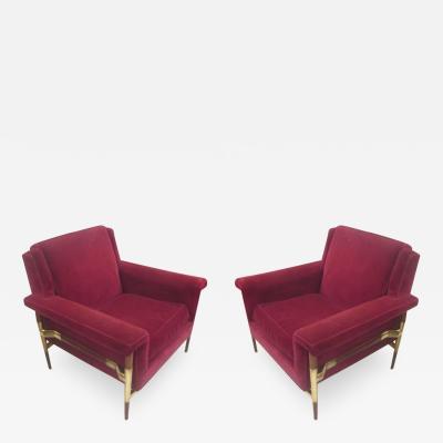 Unusual Pair of Italian Midcentury Lounge Chairs