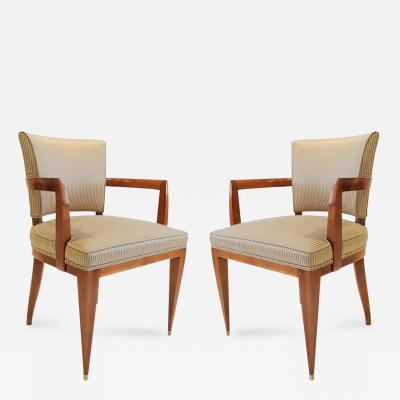 Maurice Rinck Elegant Pair of Sycamore Armchairs by Maurice Rinck