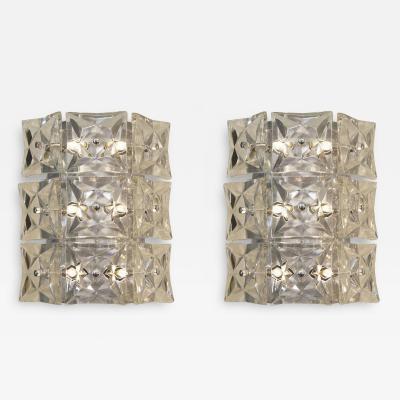 Kinkeldey Leuchten Pair of Massive Kinkeldey Square Crystal Sconces