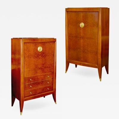Alfred Porteneuve Secretaire and Cabinet Duo in Cherry and Burl by Alfred Porteneuve