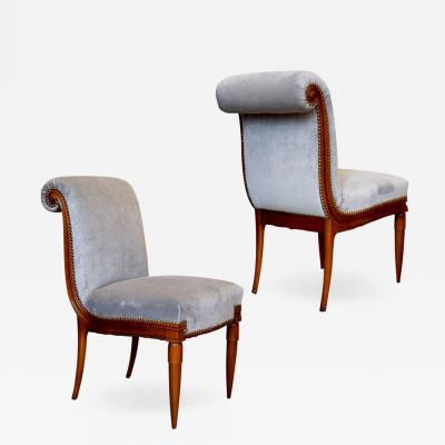 Armond Albert Rateau Exquisite Pair of Boudoir Side Chairs in Cherry by Armand Albert Rateau