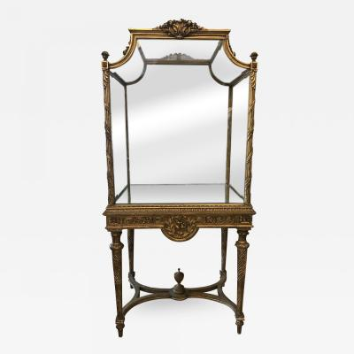 19 Century Italian Showcase with Mirror Base