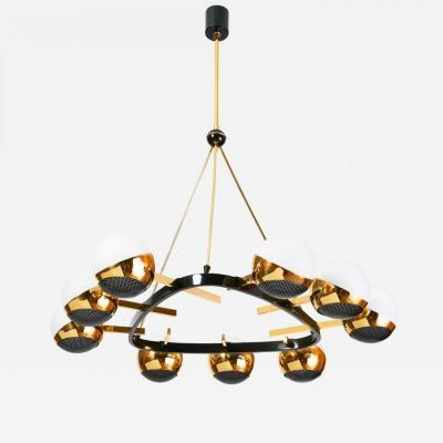 Stilnovo Stilnovo Nine Branch Triangular Brass Chandelier Italy 1950s