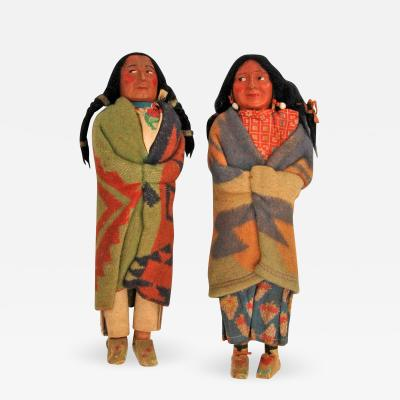 Pair of Large Skookum Dolls Circa 1940 1950 Native American