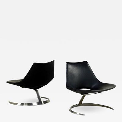 Preben Fabricius Pair of Rare Danish Scimitar Lounge Chairs