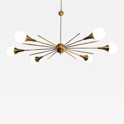Stilnovo Mid Century Modern Italian Stilnovo Style Brass White Glass Sputnik Chandelier