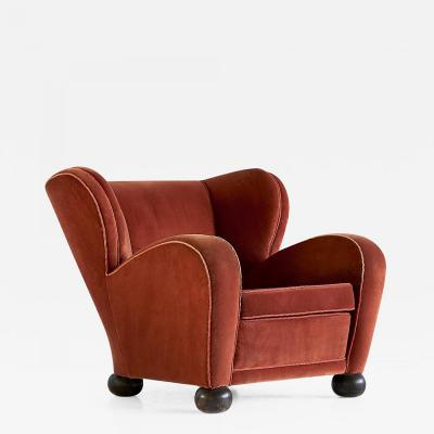 M rta Blomstedt M rta Blomstedt Armchair in Mohair Designed for Hotel Aulanko Finland 1939