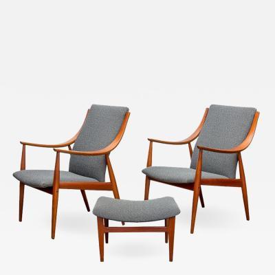 Peter Hvidt Peter Hvidt FD148 Easy Chairs Ottoman Set