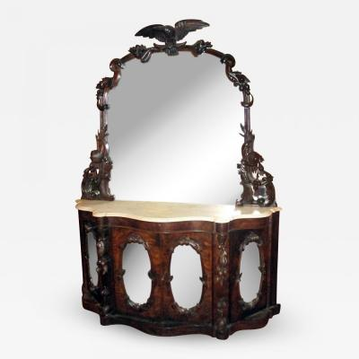John Henry Belter 19th Century American Monumental Mirrored Mahogany Sideboard with Carved Eagle